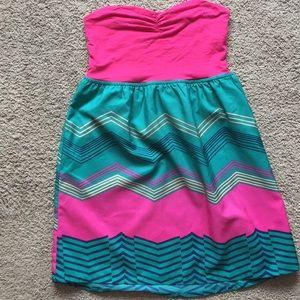 Roxy swim cover up. Medium. Hot pink/green